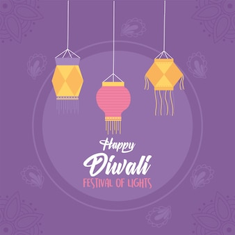 Felice diwali, sfondo viola lanterne appese luci di festival.