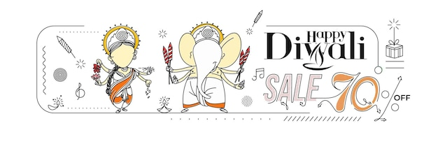 Felice diwali vendita banner poster, illustrazione vettoriale.