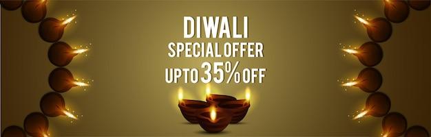 Banner di vendita felice diwali con diwali diya su sfondo creativo