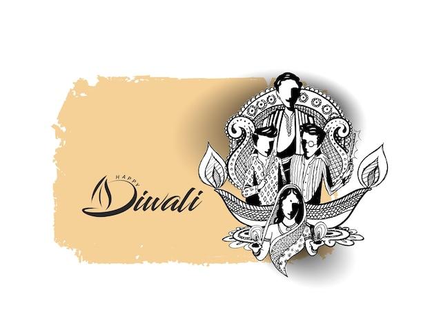 Testo di diwali felice con sfondo creativo di famiglia felice per il festival di diwali.