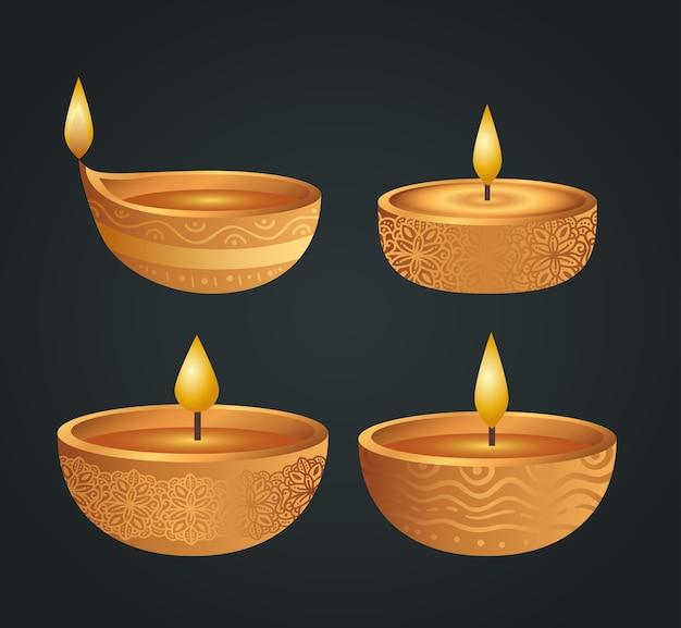 Diwali felice con set di candele