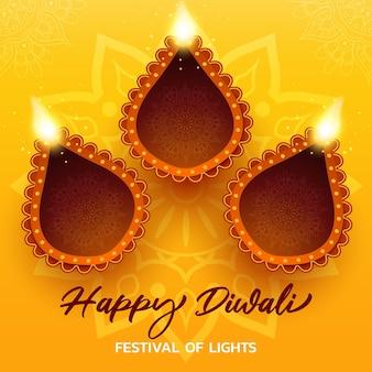 Cartellino giallo di diwali felice con illustrazione realistica di diya