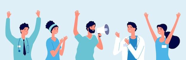 Medici felici. ultime notizie mediche, buone informazioni. la chirurgia del terapeuta dell'infermiera applaude e sorride. allerta del personale ospedaliero, gruppo di persone carine in illustrazione vettoriale uniforme. notizie mediche dal medico al team