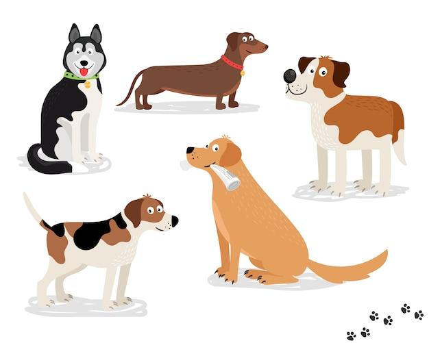 Caratteri di vettore del cane felice su priorità bassa bianca
