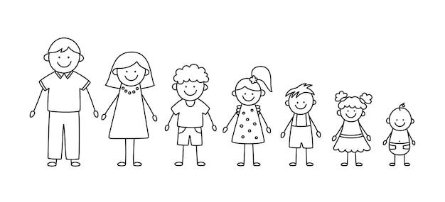 Happy doodle stick mans family set di figure di famiglia disegnate a mano madre padre e bambini vector