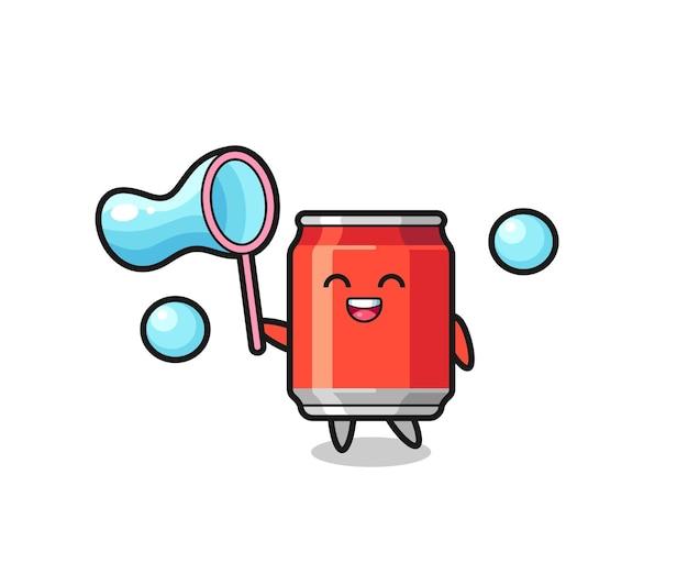 Happy drink può cartone animato che gioca a bolle di sapone, design in stile carino per t-shirt, adesivo, elemento logo