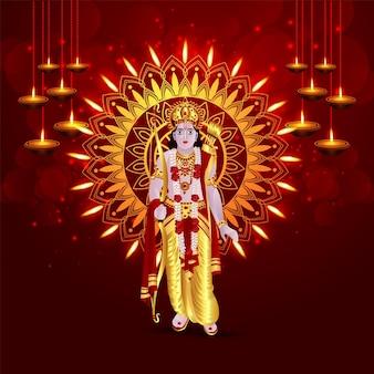 Cartolina d'auguri felice celebrazione dussehra con lord rama