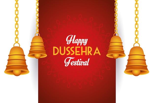 Manifesto felice del festival di dussehra con le campane appese