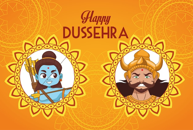 Manifesto del festival di dussehra felice con personaggi blu rama e ravana