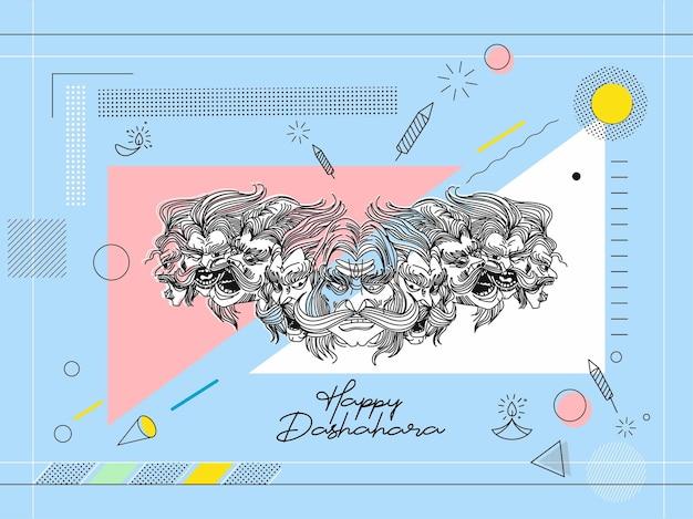 Banner di vendita felice dussehra, illustrazione vettoriale.