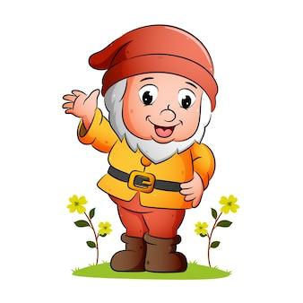 Il nano felice sta salutando e sorridendo nel giardino dell'illustrazione