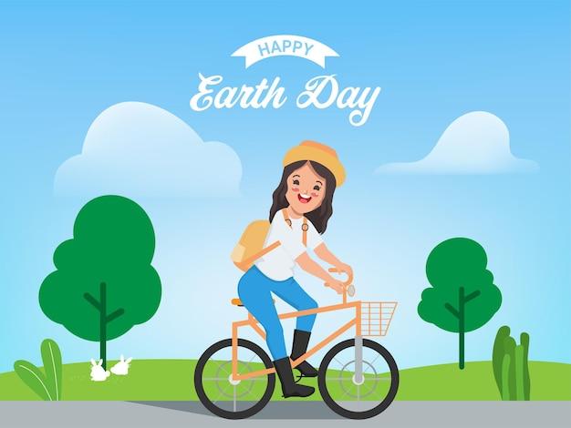 Fondo felice della giornata della terra con la giovane donna che va in bicicletta
