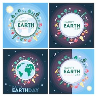 Cartoline d'auguri di felice giornata della terra con il pianeta e lo spazio.