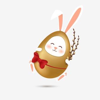 Felice sfondo di pasqua con coniglietto in costume uovo d'oro