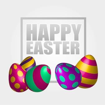 Fondo felice di pasqua con le uova decorate realistiche. biglietto di auguri design alla moda. modello di invito illustrazione vettoriale per te poster o volantino.