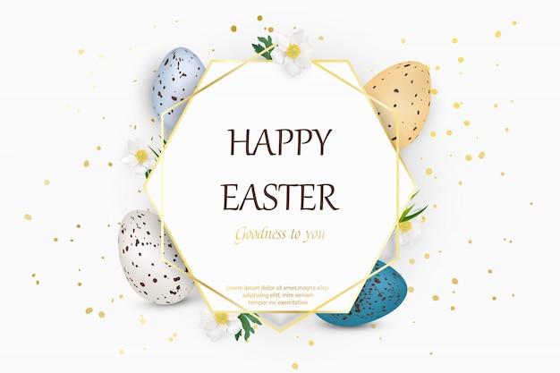 Felice sfondo di pasqua con uova di pasqua decorate realistiche quaglie