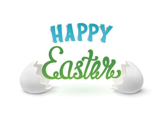 Sfondo di pasqua felice con due gusci d'uovo. carattere tipografico calligrafico disegnato a mano.