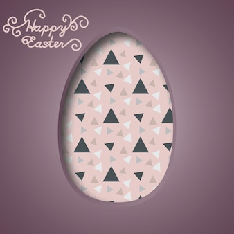 Banner di buona pasqua uova di pasqua colorate e forme astratte di carta multicolore 3d