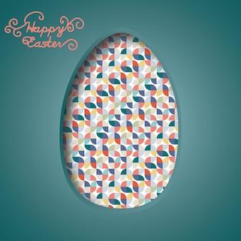 Banner di buona pasqua uova di pasqua colorate e forme astratte di carta multicolore 3d cut