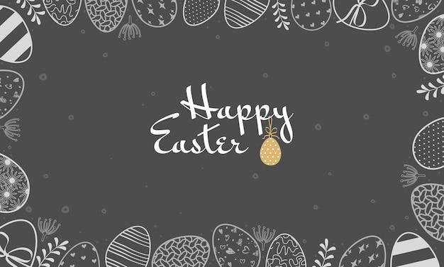 Banner di buona pasqua cornice fatta di uova con motivo disegnato con linee di gesso bianco sulla lavagna scura