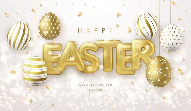 Modello di banner di buona pasqua con uova di pasqua di lusso dorate e lettera del titolo del pallone
