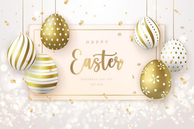 Modello di banner di buona pasqua con carta di tag uova di pasqua di lusso dorato