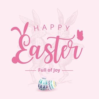 Banner di pasqua felice con coniglietto e uova dipinte colorate