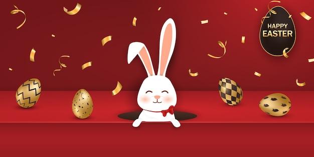 Insegna felice di pasqua con le uova e il coniglietto dorati