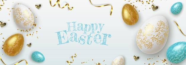 Bandiera di pasqua felice con realistiche uova di pasqua dorate, blu e bianche.