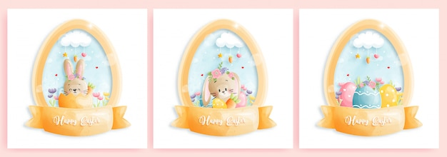 Cartolina di pasqua felice con simpatici coniglietti a forma di uovo.