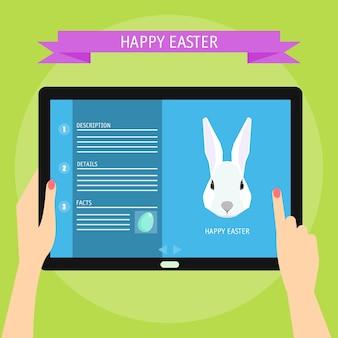 Tema del modello di carta di buona pasqua. conigli bianchi del fumetto divertente. tavoletta digitale con sito web.