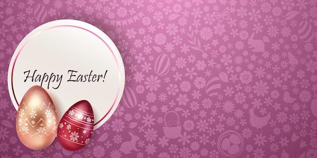 Carta di buona pasqua con le uova di pasqua in vari colori con decorazioni colorate