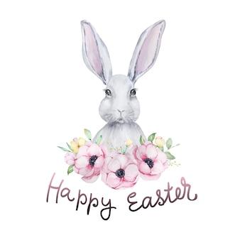 Carta di buona pasqua con coniglietto di pasqua dell'acquerello con ghirlanda floreale.