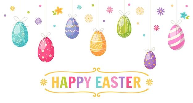 Cartolina d'auguri felice del fumetto di pasqua con uova colorate e fiori Vettore Premium