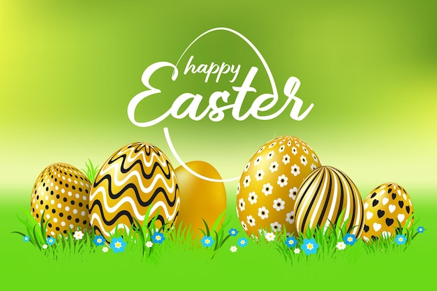 Scheda felice di celebrazione di pasqua con le uova di pasqua decorate dorate.