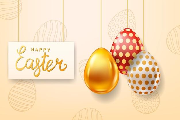 Modello di uova colorate di pasqua felice. lustro realistico decorato, uova dipinte.