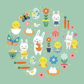 Illustrazione variopinta di pasqua felice con coniglietto carino, uovo, fiore, ramo, pollo