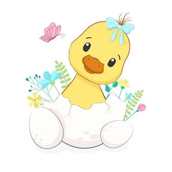 Buona pasqua. anatroccolo carino con le uova.