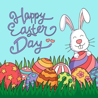 Insegna felice di giorno di pasqua con il coniglietto e le uova