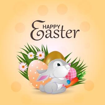 Cartolina d'auguri felice di giorno di pasqua con le uova di pasqua variopinte