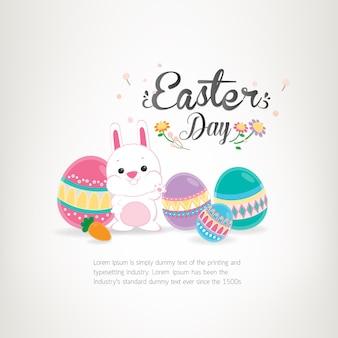 Felice giorno di pasqua, vacanza uova colorate su sfondo bianco. biglietto di auguri per il giorno di pasqua