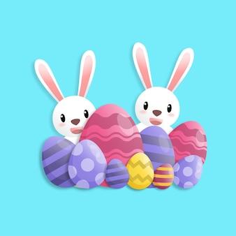 Buona pasqua in stile arte cartacea con coniglio e uova di pasqua. biglietto di auguri, poster e carta da parati. illustrazione vettoriale.