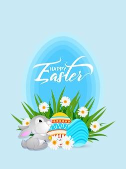 Poster di buona pasqua con uovo di pasqua colorato e coniglietto di pasqua