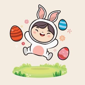 Felice giorno di pasqua con illustrazione di coniglietto carino