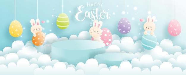 Felice giorno di pasqua con coniglio carino e podio rotondo per l'esposizione del prodotto