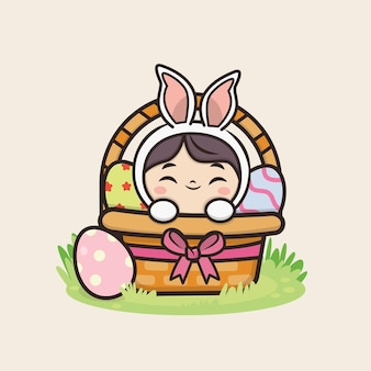 Felice giorno di pasqua con kawaii cute bunny rabbit illustrazione