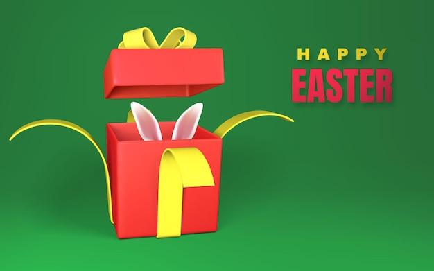 Felice giorno di pasqua con scatola regalo rossa aperta con fiocco giallo e nastro