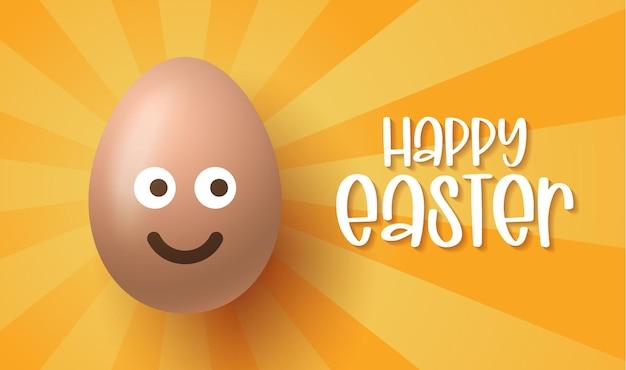 Buona pasqua, uova di pasqua con la faccia sorridente carina di emoji