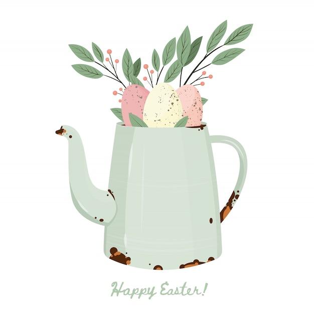 Buona pasqua. uova di pasqua con struttura del punto differente sull'annaffiatoio con le foglie. vacanze di primavera. illustrazione