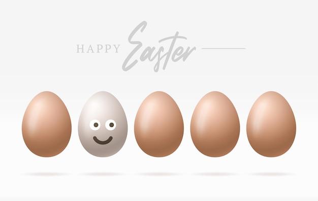 Uova di pasqua felici con l'illustrazione sorridente sveglia del fronte di emoji